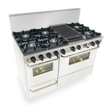 """See Details - 48"""" Dual Fuel, Convect, Self Clean, Open Burners, White"""