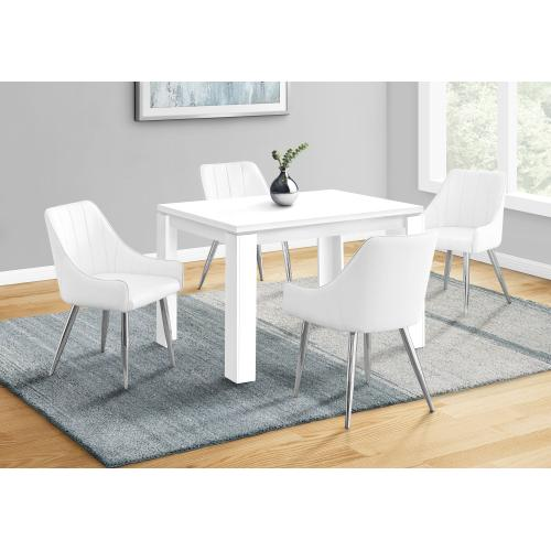 """Gallery - DINING CHAIR - 2PCS / 33""""H / WHITE LEATHER-LOOK / CHROME"""