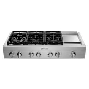 KitchenAidKitchenAid(R) 48'' 6-Burner Commercial-Style Gas Rangetop with Griddle - Stainless Steel