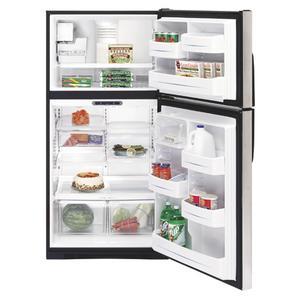 GE® ENERGY STAR® 21.7 Cu. Ft. Stainless Top-Freezer Refrigerator with Internal Dispenser
