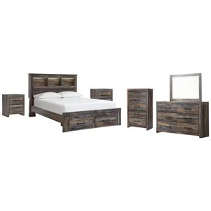 Queen Bookcase Bed With 2 Storage Drawers With Mirrored Dresser, Chest and 2 Nightstands