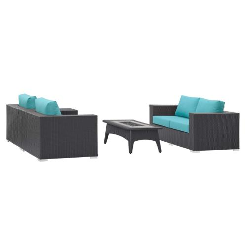 Convene 4 Piece Set Outdoor Patio with Fire Pit in Espresso Turquoise