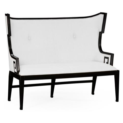 Greek Key Design Black Biedermeier Settee, Upholstered in COM