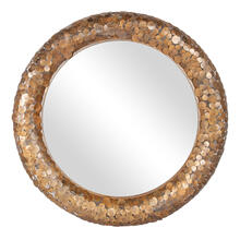 "Sawyer 40"" Round Mirror, Antique Brass"