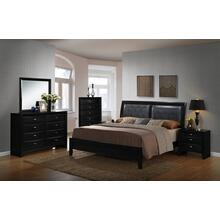 Blemerey 110 Wood and Bonded Leather Bed Room Set , QUEEN & KING Bed, Dresser, Mirror, 2 Night Stands, Chest, Black Finish, King
