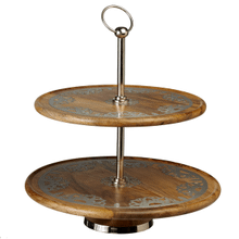 Silver Floral Medallion Inlay Two Tiered Server