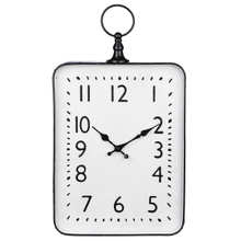 Black & White Enamel Rectangle Pocket Watch Wall Clock