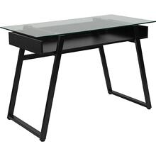 See Details - Huntley Glass Computer Desk with Shelf and Black Metal Legs