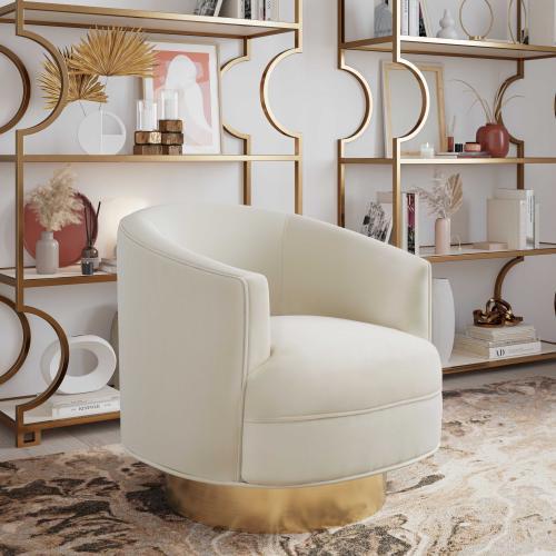 Stella Cream Velvet Swivel Chair by Inspire me! Home Decor