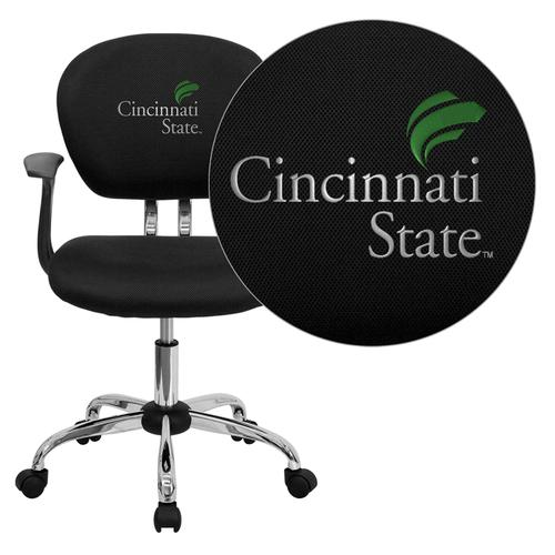 Cincinnati State Technical and Community College Surge Embroidered Black Mesh Task Chair with Arms and Chrome Base