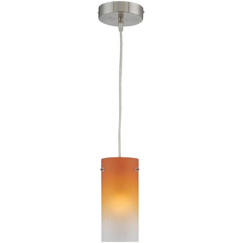 1-lite Pendant Lamp, Ps W/amber Tricolor Glass Shade, A 60w