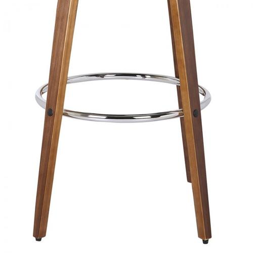 """Sonia 30"""" Bar Height Barstool in Walnut Wood Finish with Gray Faux Leather"""