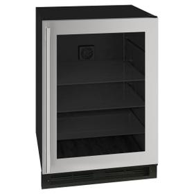 24-In Classic Built-In Beverage Center with Door Style - Stainless Steel Frame Glass