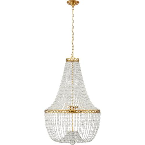 Visual Comfort CHC5271AB-CG E. F. Chapman Linfort 8 Light 24 inch Antique Burnished Brass Pendant Ceiling Light in Antique-Burnished Brass, E.F. Chapman, Medium, Basket Form Chandelier, Clear Beaded Glass