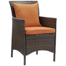 Conduit Outdoor Patio Wicker Rattan Dining Armchair in Brown Orange