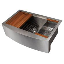 """See Details - ZLINE 33"""" Moritz Farmhouse Apron Mount Single Bowl Kitchen Sink with Bottom Grid and Accessories (SLSAP-33) [Color: Stainless Steel]"""