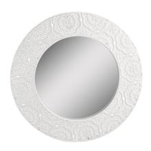 See Details - White Stamped Metal Filigree Round Wall Mirror