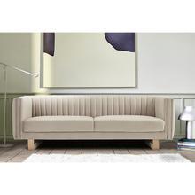 """See Details - Delilah 86"""" Beige Velvet Square Arm Sofa"""