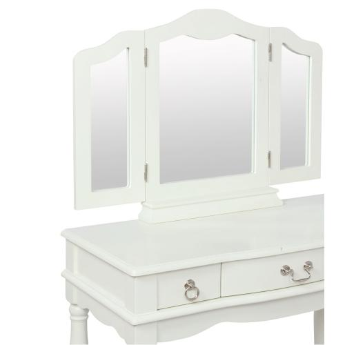 Adjustable Tri-fold Mirror and 3-drawer Vanity, White