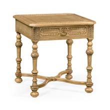 Chip carved natural oak square side table