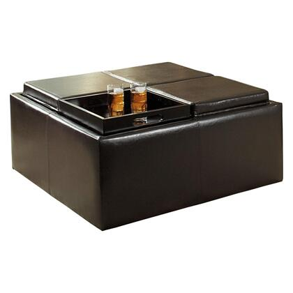 Cocktail Ottoman with Casters, Dark Brown Faux Leather