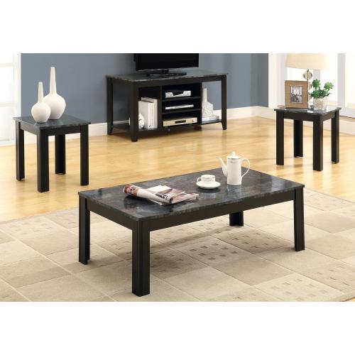 Gallery - TABLE SET - 3PCS SET / BLACK / GREY MARBLE-LOOK TOP