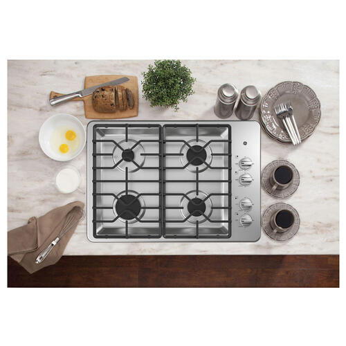 "GE 30"" Built-In Deep-Recessed Gas Cooktop Stainless Steel - JGP3030SLSS"