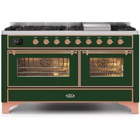60 Inch Emerald Green Dual Fuel Natural Gas Freestanding Range