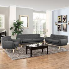 Remark 3 Piece Living Room Set in Gray