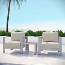 Shore 3 Piece Outdoor Patio Aluminum Set in Silver Beige