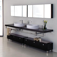 "Wall-mount wooden countertop with polished stainless steel brackets. Cut-outs provided upon request. 48""W, 19 3/4""D, 2 1/4""H."