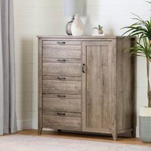 Door Chest with 5 Drawers - Weathered Oak