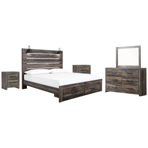 Ashley - King Panel Bed With Storage With Mirrored Dresser and 2 Nightstands