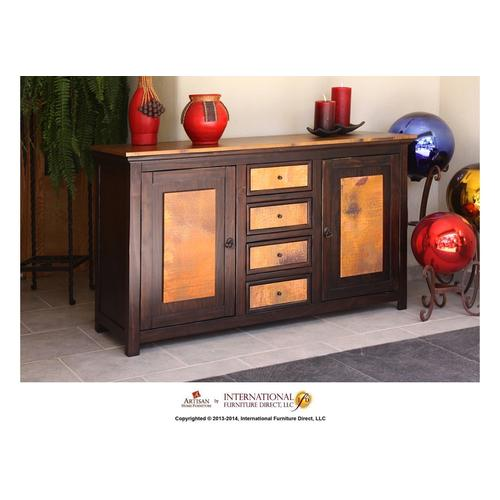 Artisan Home Furniture - 59in Console Copper Top w/2 Doors, 4 Drawers