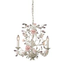 See Details - Heritage 3-Light Chandelier in Cream with Porcelain Roses and Crystal