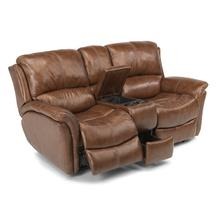 See Details - Dominique Leather Power Reclining Love Seat with Console