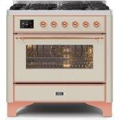 Majestic II 36 Inch Dual Fuel Natural Gas Freestanding Range in Antique White with Copper Trim