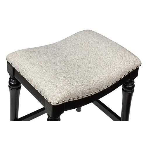 Saddle Seat Counter Stool, Black and Grey