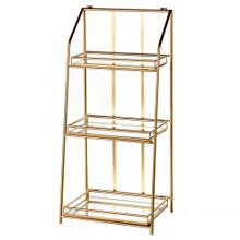 BAKER SHELF  19in w X 41in ht X 15in d  Three Tier Gold Metal Shelf Unit with Mirrored Shelves