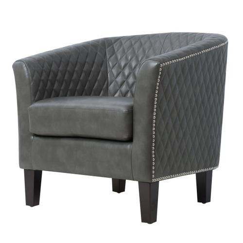 Upholstered Quiltback Barrel Accent Chair in Stormy Gray