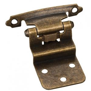 """3/8"""" Inset Hinge with 4 - #5 x 5/8"""" Oval Head Screws, 6 - #6 x 1/2"""" Flat Head Screws and 2 Flat Form Pads. Finish: Antique Brass Product Image"""