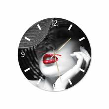 Woman With Hat Round Acrylic Wall Clock