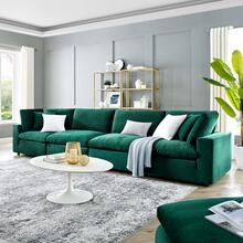 Commix Down Filled Overstuffed Performance Velvet 4-Seater Sofa in Green