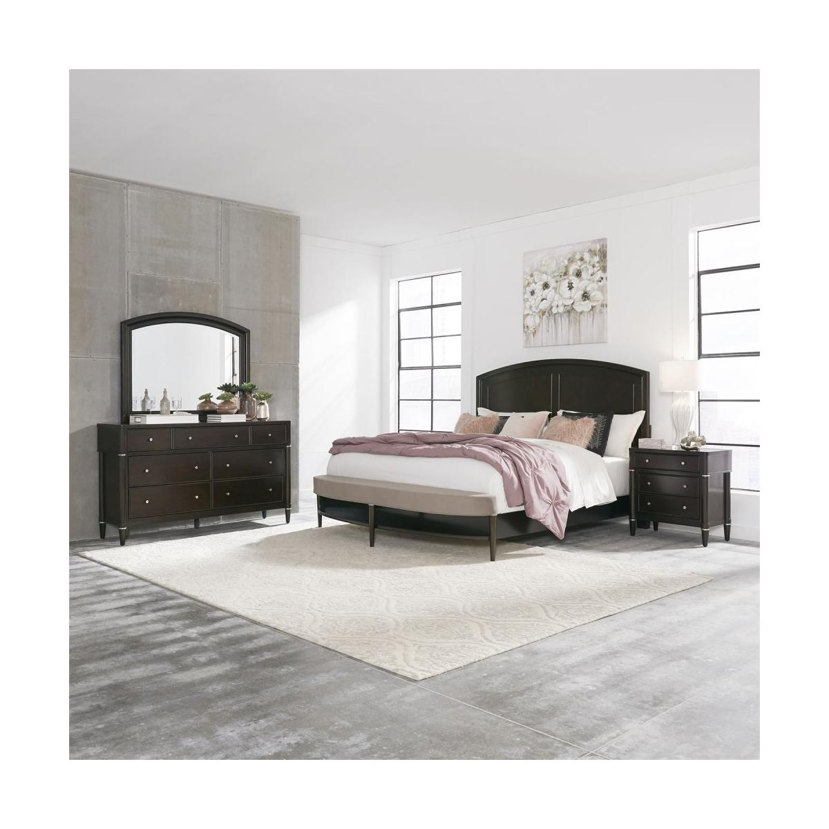 King Opt California Panel Bed, Dresser & Mirror, Night Stand