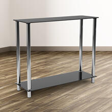 See Details - Riverside Collection Black Glass Console Table with Shelves and Stainless Steel Frame