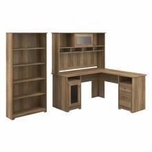 See Details - 60W L Shaped Computer Desk with Hutch and 5 Shelf Bookcase, Reclaimed Pine