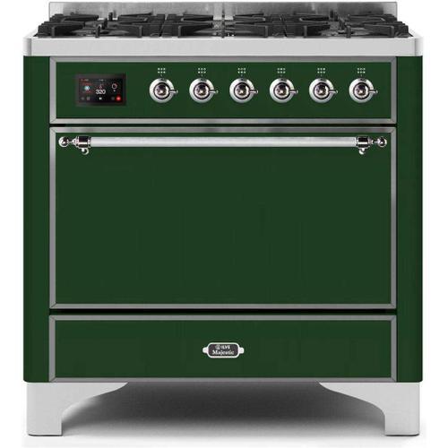 Gallery - Majestic II 36 Inch Dual Fuel Liquid Propane Freestanding Range in Emerald Green with Chrome Trim
