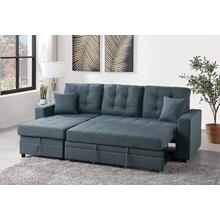 Lorene 2pc Sectional Sofa Set, Blue-grey