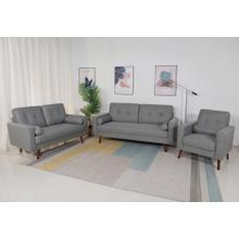 See Details - 8132 3PC LIGHT GRAY Linen Stationary Tufted Back Living Room SET