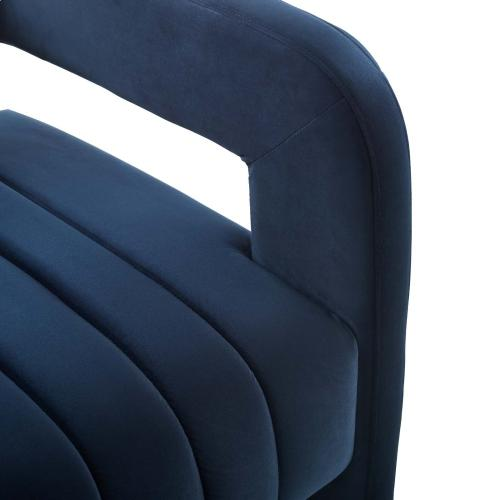 Range Tufted Performance Velvet Accent Armchair in Midnight Blue